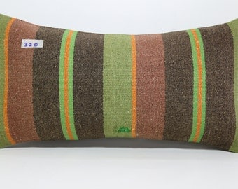 Faded Kelim Pillow Stripe Kilim Pillow Lumbar Pillow Cover 12 x 24 Turkish Kilim Pillow,Decorative Pillow,Boho Pillow,Bed Pillow SP3060-320