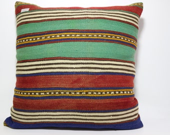 Kilim Cushion Case Multicolour Kilim Pillow 28x28 Turkish Striped Kilim Pillow Floor Pillow Turkish Kilim Pillow bohemian pillow SP7070-234