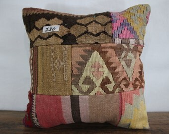 Turkish patchwork kilim pillow 16x16 kilim patchwork pillow 16x16 patchwork kilim cushion cover throw pillow flat woven cushion SP4040-130