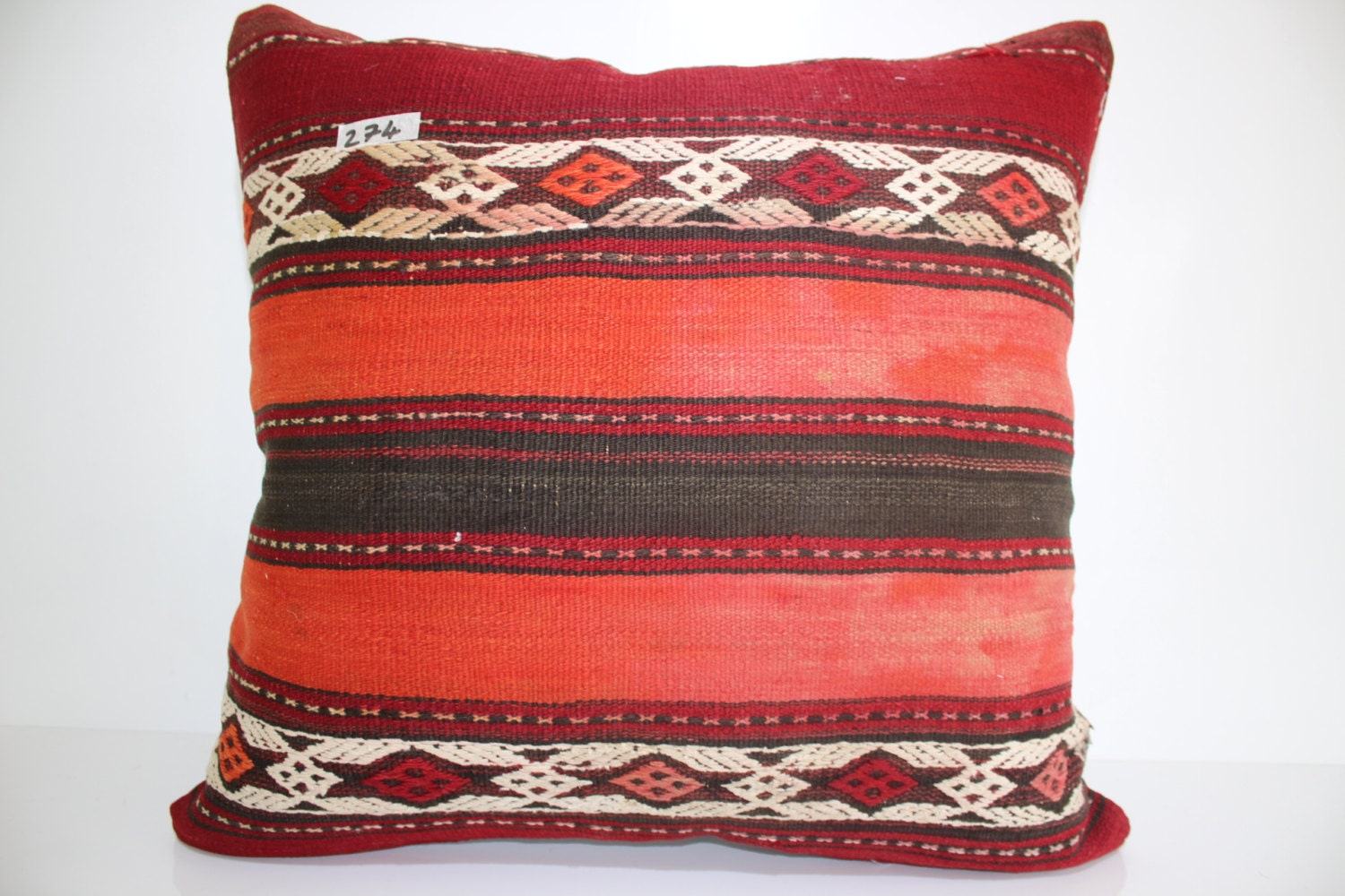 Kilim Pillow 24x24 Large Size Floor Cushion Cover 24x24