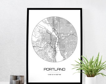 Portland Map Print - City Map Art of Portland Oregon Poster - Coordinates Wall Art Gift - Travel Map - Office Home Decor