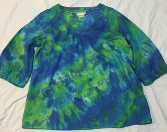 Boho Hippie rescued and up cycled tie dye wimens blouse Sz 16