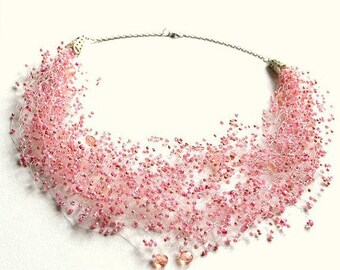 Pink necklace, blush jewelry, beaded, multistrand, beadwork