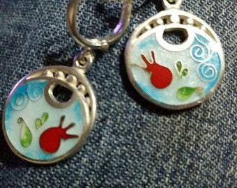 Silver earing, enamel, sterling silver jewelry