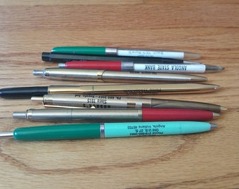 Lot of 8 Vintage Advertising Business Pens Multi Color