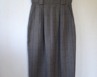 1980s grey plaid skirt by C.G. Concepts