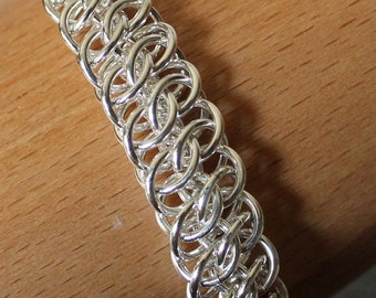 GSG Weave Chain Mail Bracelet, Silver Filled Chain Mail Bracelet, Sterling Silver Toggle Clasp