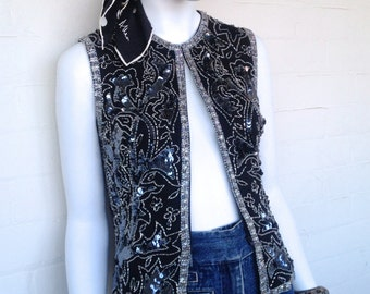 Vintage Beaded and Sequin Vest Top Silk and Silver Beaded Black Sequin Boho Disco Festival Vest Top