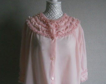 1960s Baby Pink Frou Frou Bed Jacket Bri-Nylon Size 16-18
