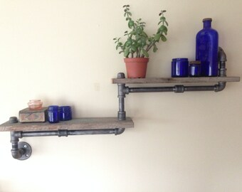 Industrial Shelf- Double Shelf-Industrial Pipe- Pipe Shelf- Rustic Shelf