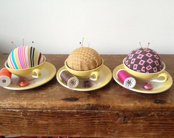 Pincushion Cup & saucer retro vintage style