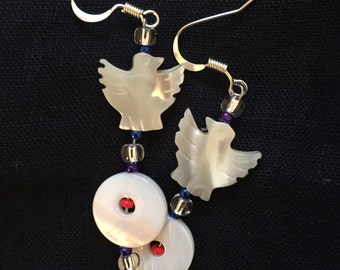 Flying Phoenix Mother of Pearl Beaded Eaerings