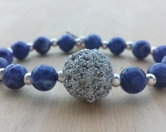 Blue sodalite beaded bracelet, Crochet ball bracelet and beads, silver crochet beaded blacelet