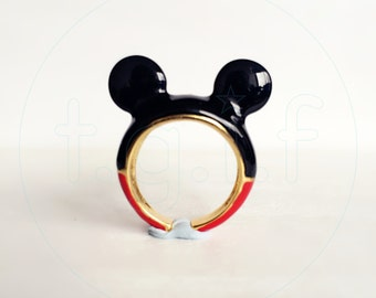 Mickey ears Ring , Handcrafted, Mickey Mouse, Mickey Jewelry, Enamel Brass Jewelry, Statement Ring, Mickey Ears, Gift, Cute, Disney