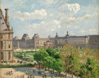 Place du Carrousel print, Paris print, Postimpressionism print, Pissarro print