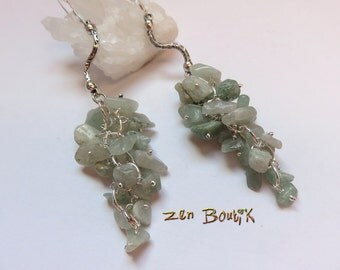 Cluster green Aventurine and 925 Silver hook earrings
