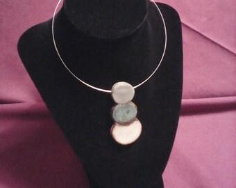 Gray blue cream ceramic pendant