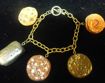 Handmade Bronze Polymer Clay Biscuit Bracelet