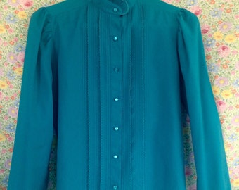80s Aquamarine Victorian Ruffle Neck Button Up Blouse made in USA