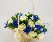 Artificial Wedding Flowers Royal Blue  Ivory Rose Flower Girl Basket