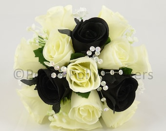 Artificial Wedding Flowers, Black & Ivory Bridesmaids Bouquet Posy