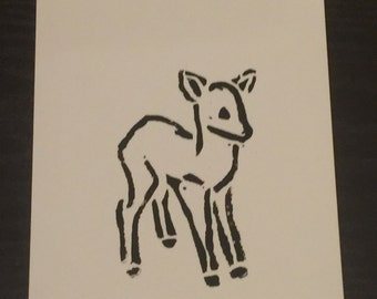 Linocut Print, Deer