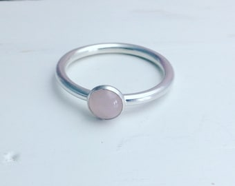Rose Quartz Ring, Rose Quartz Silver Ring, Rose Quartz Stacking Ring, Simple Modern Ring, Stacking Ring.