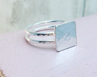 Square Ring, Geometric Ring, Simple Modern Ring, Two Banded Ring, Silver Square Ring, Double Band Ring, Statement Ring