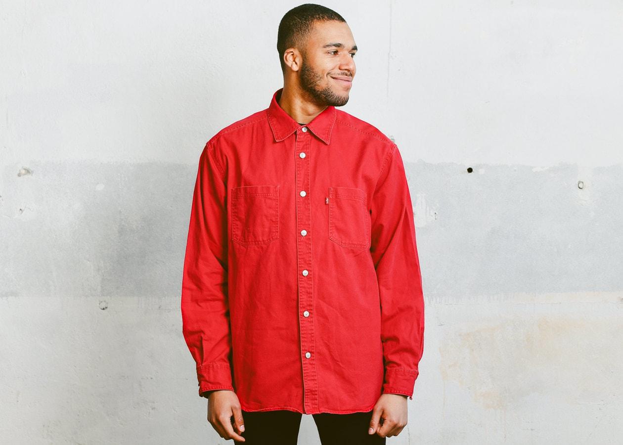 Vintage Levis Denim Shirt . Men's 90s Jean Shirt Red Oversized ...