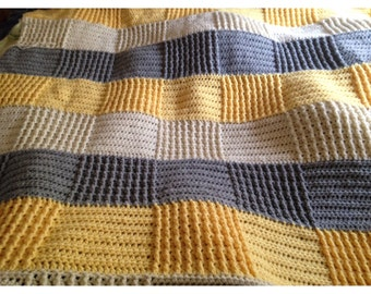 Grey Yellow and Cream Patchwork Crochet Afghan Throw Blanket. Ready to Ship!