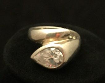 snake shaped sterling silver and cz designer ring.