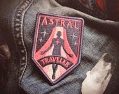 """Astral Traveler Patch - Metaphysical Fashion Accessory - 3"""" Iron On Embroidered Patch - Retro Red and Starry Blue for Psychonauts & Dreamers"""
