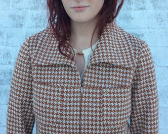 Vintage 1960s-1970s Brown Houndstooth Zip Jacket, Small