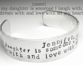 Daughter Bracelet, Christmas gift. Daughter Cuff, Personalised Cuff Bracelet, Gift For Daughter, Bracelet for Daughter, Hand Stamped, Xmas