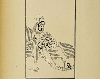 Art Deco Flapper Lady #2 - Digital Download Image Transfer Pillow Burlap Iron-On Teeshirt Fabric Scrapbooking Digital Stamp Coloring In