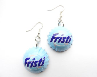 Fristi soda bottle cap earrings - recycle