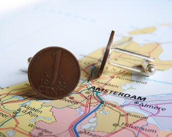 Netherlands Dutch cent coin cuff links in birth year 1948 - 1950 - 1951 - 1952 - 1953 - 1954 - 1955 - 1956 - 1957 - 1958 - 1959