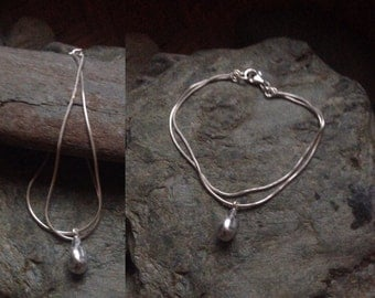 Bracelet silver double drop money