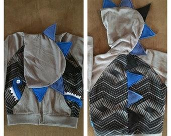 Blue/black dinosaur hoodie