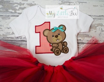 Baby Girl 1st Birthday Outfit - Teddy Bear Party - red and black Tutu - Cake Smash-Teddy Bear picnic outfit-age 1 to 9