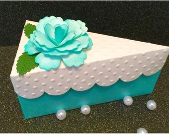 "Cake Slice Box Favor Over 5"" Long!Treat Holder! Choose Plain Lid or Flower Top Lid! Weddings, Bridal Showers! Baby Showers! Birthday Favors!"