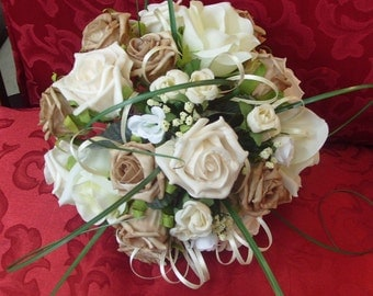 COFFEE FOAM.   Hand Wired    Coffee and Ivory, Med. Posy foam Roses