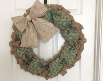 Teal Chevron/Chevron Wreath/Lace bow/Burlap with lace/Spring wreath/Summer wreath