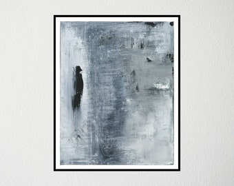 Bird Series, High Quality Art Fine Print, Abstract Art, Limited Edition, Grey, White