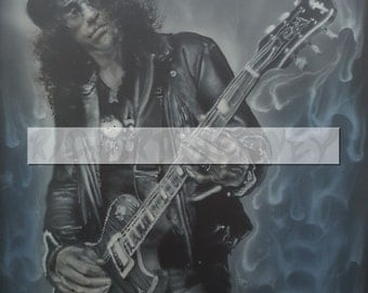 Slash airbrushed on A1 sized card.23.4 x 33.1 inches