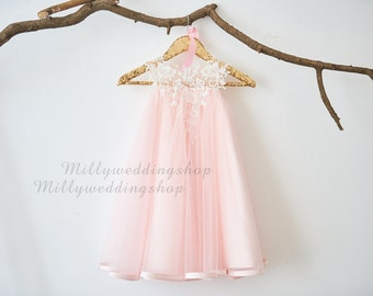 Ivory Lace light pink Tulle Flower Girl Dress M0026