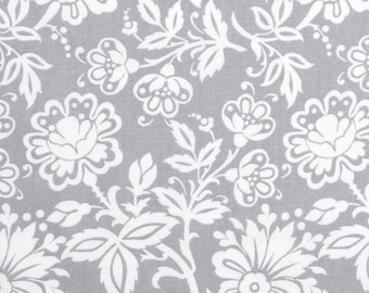 White on Gray Floral Crib Sheets Fitted or Flat