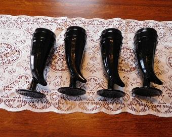 Indiana Tiara Ebony Black  Horn  Vikings Glasses Set of 4 (FREE SHIPPING)