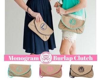 Monogram Clutch/ Monogram Burlap Clutch/ Personalized Clutch/ Monogram purse, Bridesmaids gifts