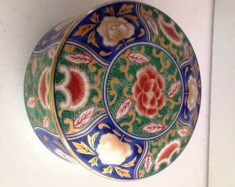 OMC Japan Peony and Ginkgo Porcelain Covered Box in Green, Blue and Orange with Gold Trim